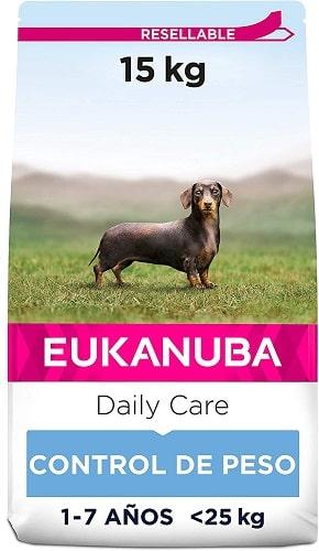 Pienso Eukanuba para perros con sobrepeso raza pequeña y mediana