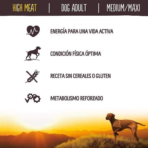 True Instinct High Meat para perros con energía vida activa