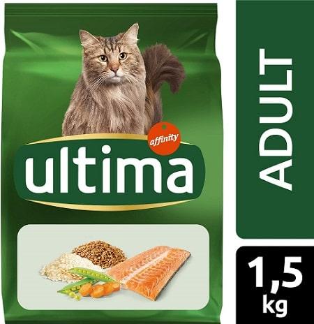 Alimento seco para gatos Ultima adult con salmón