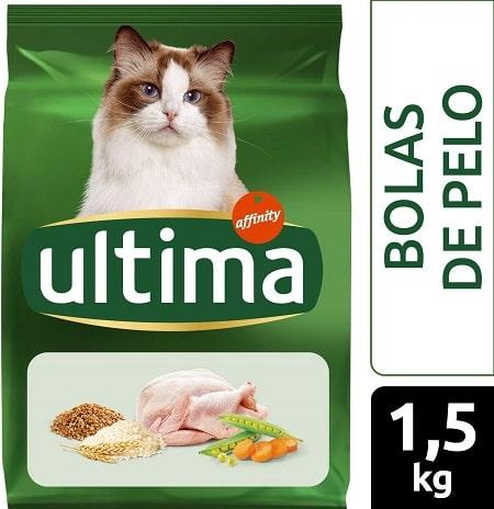 Alimento seco para gatos Ultima Bolas de Pelo con pavo