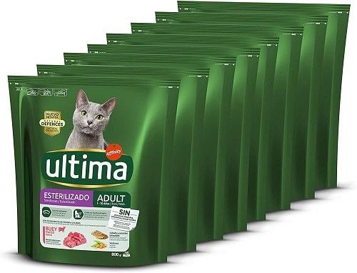 Pienso para gatos Ultima Esterilizado Adult con buey
