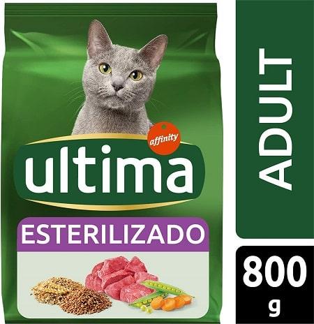 Alimento seco para gatos Ultima Esterilizado Adult con buey