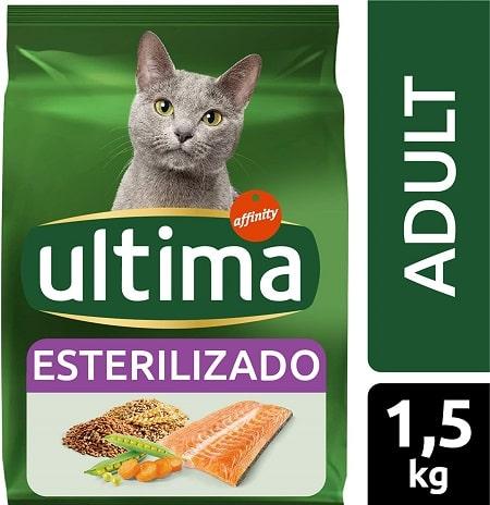 Alimento seco para gatos Ultima Esterilizado Adult con salmón