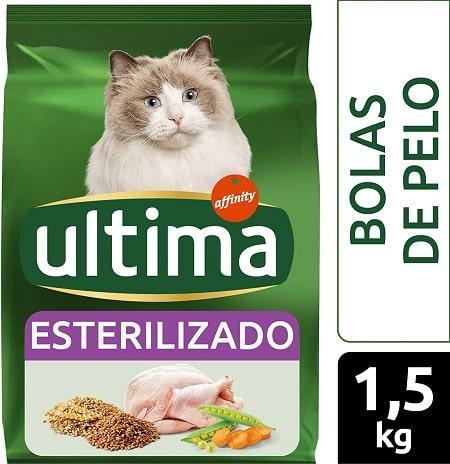 Alimento seco para gatos Ultima Esterilizado Bolas de Pelo con pavo