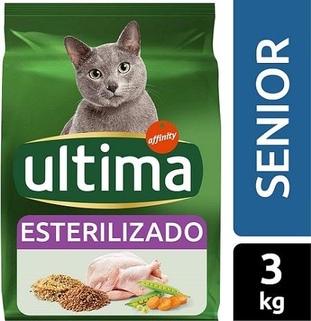 Alimento seco para gatos Ultima Esterilizado Senior con pollo