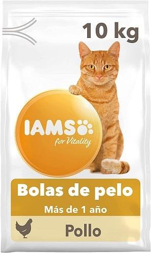 Pienso para gatos IAMS bolas de pelo con pollo