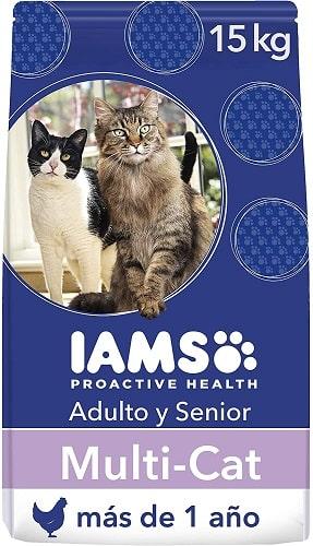 Pienso para gatos IAMS Proactive Health Adulto y Senior con salmón y pollo