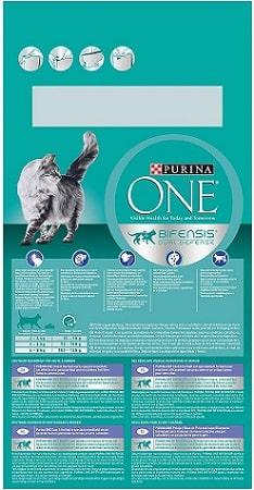 Alimento seco para gatos Purina One Bifensis Dual Defense Coat Hariball con pollo