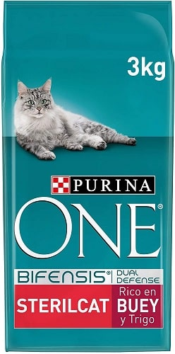 Pienso para gatos Purina One Bifensis Dual Defense SterilCat con buey