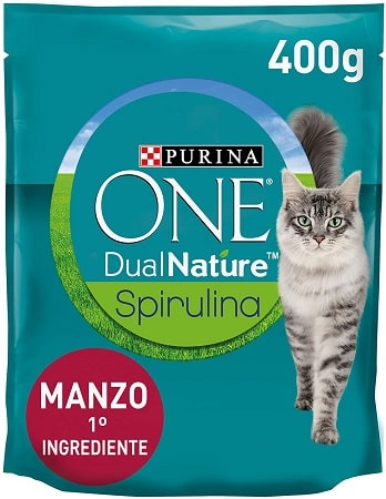 Pienso para gatos Purina One Dual Nature Spirulina con buey