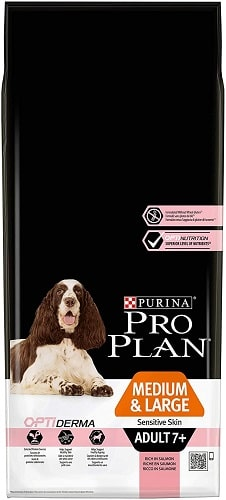 Alimento seco para perros Purina Pro Plan OptiDerma Medium Large Sensitive Skin Senior